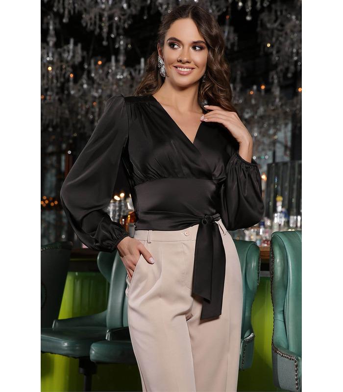 Блуза Айворі CH, нарядна чорна блуза