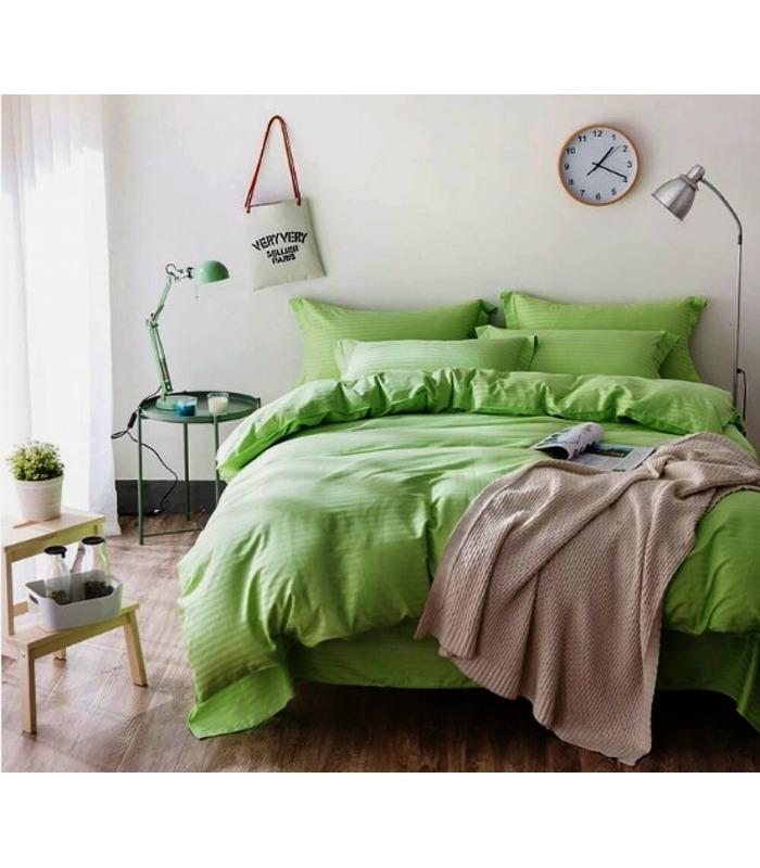 """Комплект постельного белья """"Greenery"""" Сатин Stripe из 100% хлопка, полоса 1/1 см"""