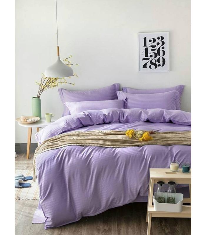 """Комплект постільної білизни """"Lavender"""" Сатин Stripe зі 100% бавовни, смуга 1/1 см"""