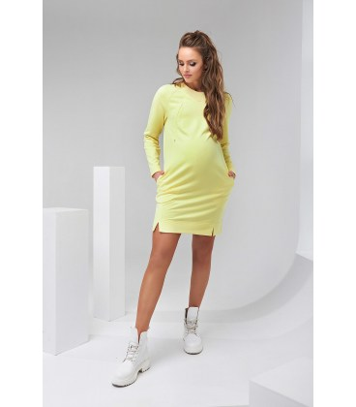Сукня Шайн, коротке жовте плаття вагітним ат годуючим