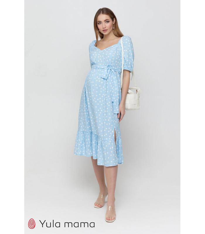 Платье Федерика BB, голубое платье в горошек беременным и кормящим