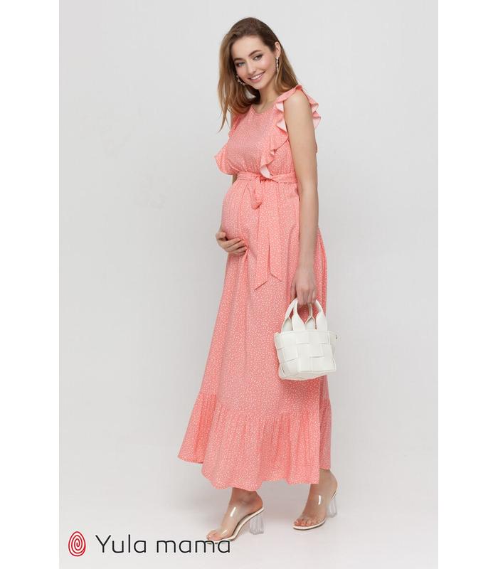 Платье Фрея KO, длинное платье в горошек беременным и кормящим