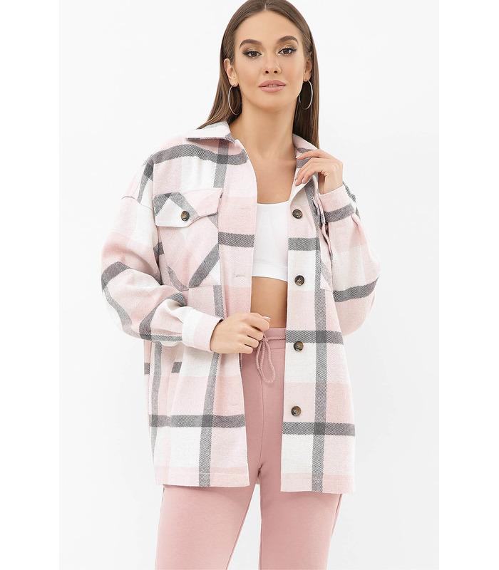 Сорочка Роуз PP, тепла рожева сорочка у клітинку