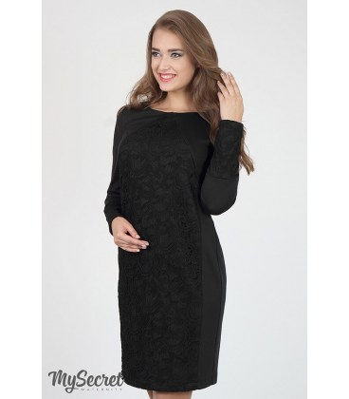 Платье Ален BL, черное кружевное платье беременным и кормящим