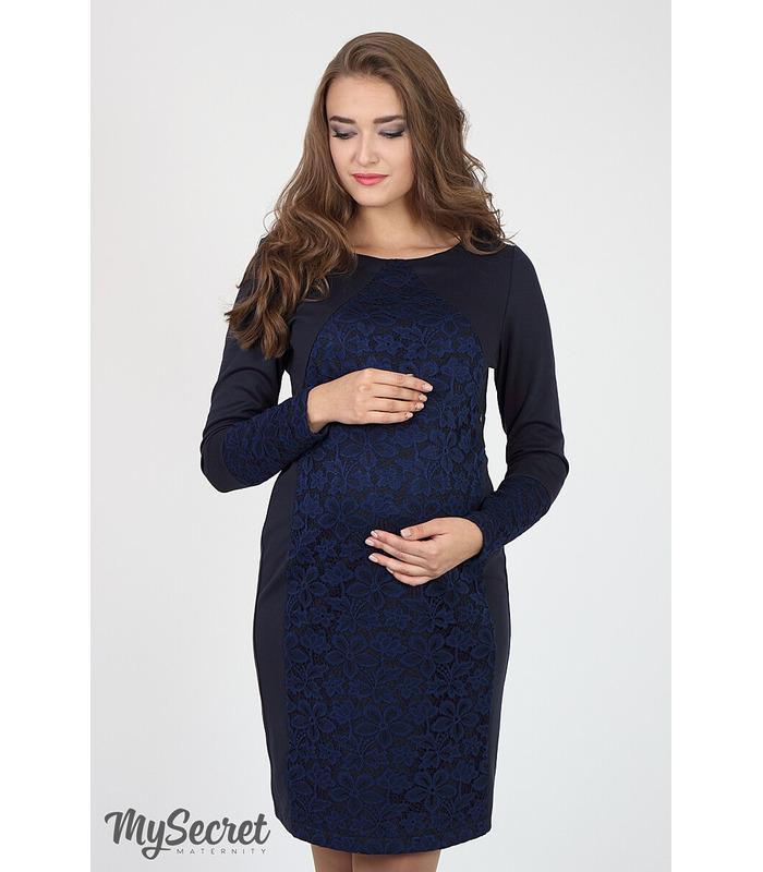 Платье Ален BB, синее платье с гипюром беременным и кормящим