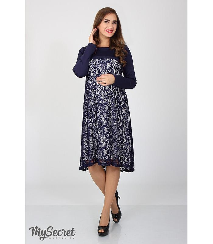 Сукня Лорен, нарядное синее платье беременным и кормящим