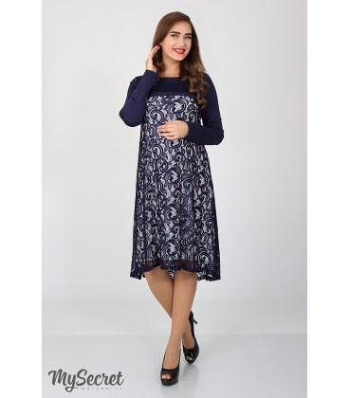 Сукня Лорен, наярдна синя сукня вагітним та годуючим