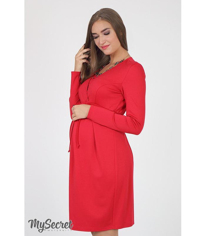 Сукня Вінона, червона трикотажна сукня для вагітних, червоні сукні для годуючих