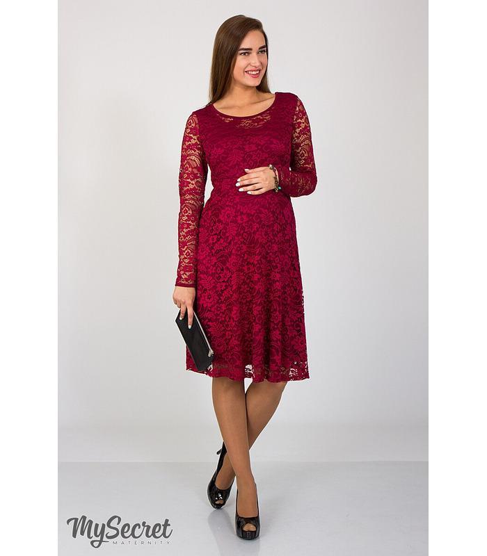 Платье Дейзи, бордовое гипюровое платье для беременных