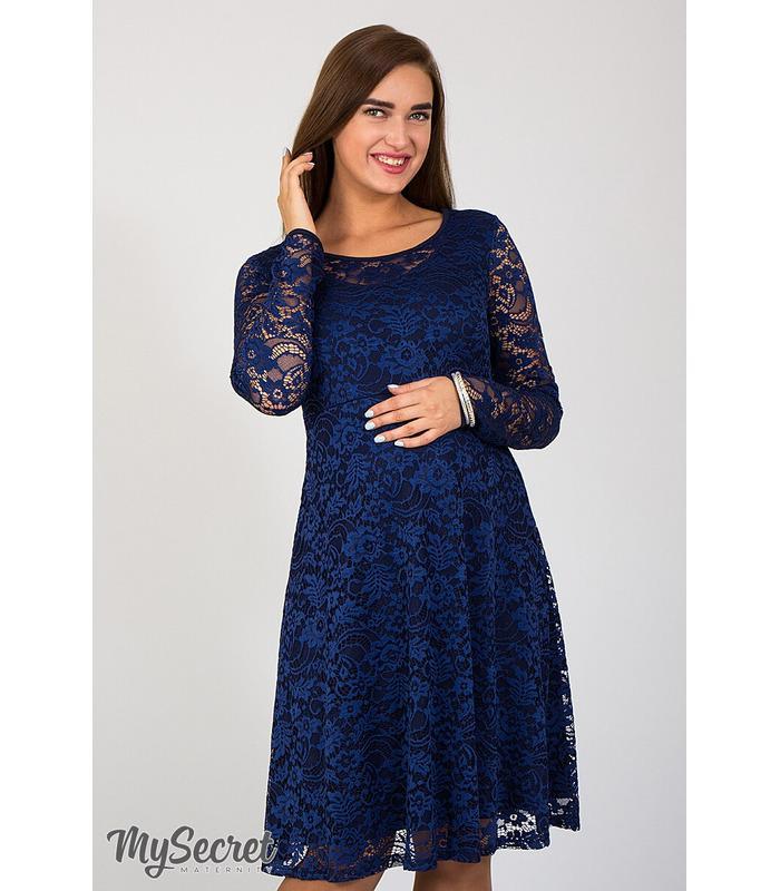 Платье Дейзи, синее гипюровое платье для беременных