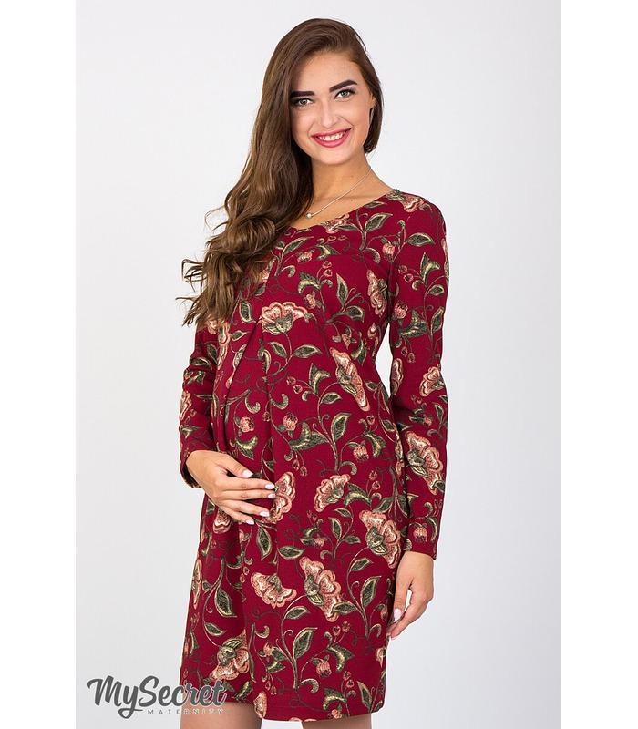 Сукня Флоріанна, бордова сукня з принтом вагітним та годуючим