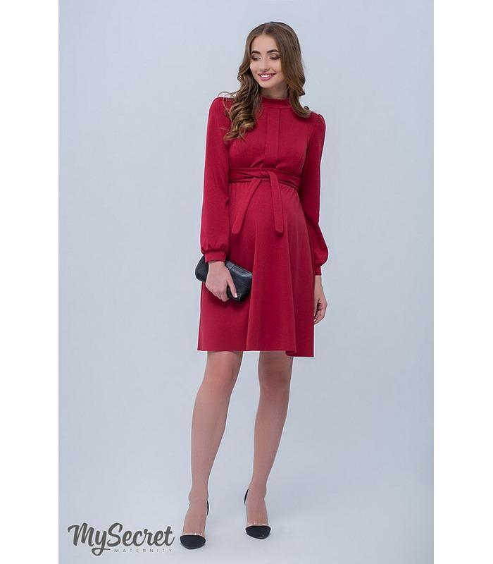 Плаття Ребекка, бордове тепле плаття вагітним та годуючим