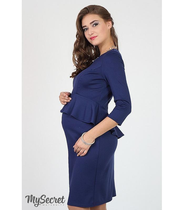 Сукня Кетрин-6, синее платье с баской для беременных и кормящих