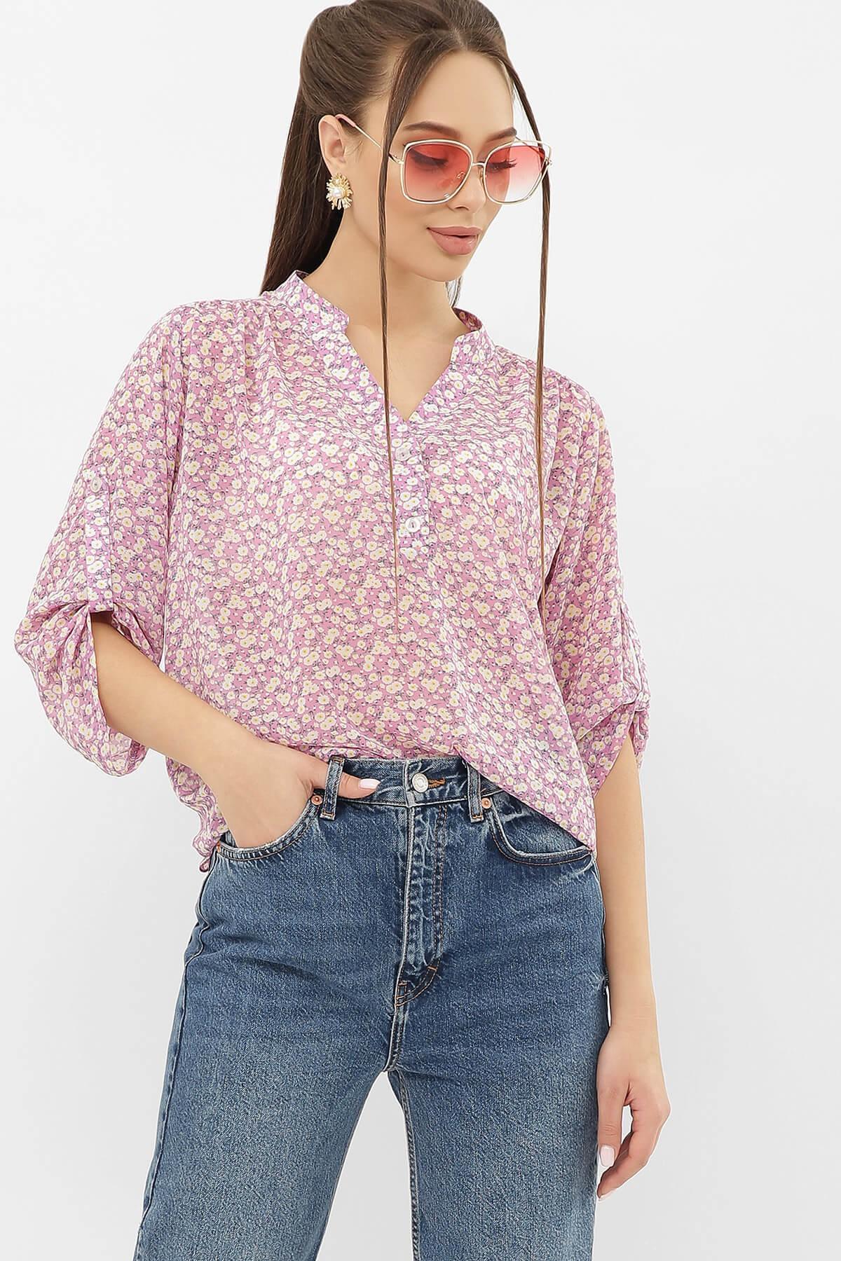Блуза Севара VI ᐈ сиреневая шифоновая блуза в цветочек от МамаТато