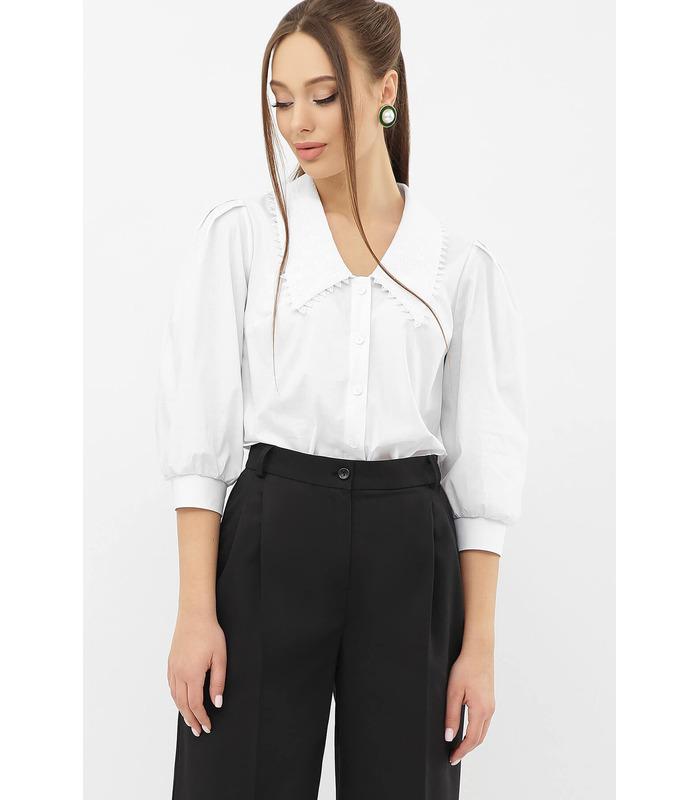 Блуза Саяна, біла блуза з коміром з прошви