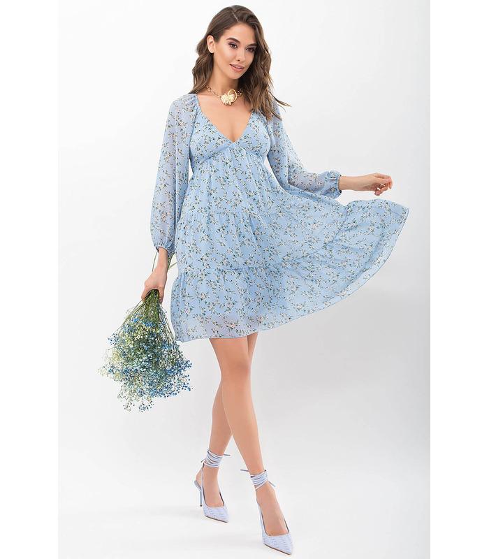 Сукня Хельга BB, коротке блакитне плаття у квіточку
