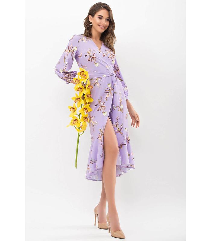 Сукня Сафура LA, лавандове плаття на запах з принтом