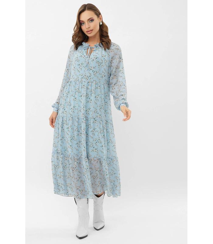 Сукня Маріетта BB, блакитна шифонова сукня з принтом