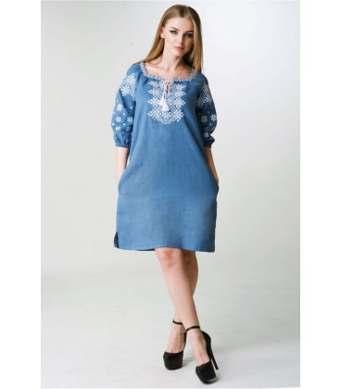 Вишитое льняное платье мод.018