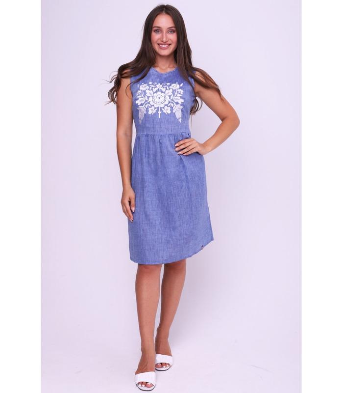 Вишита лляна сукня мод.0040