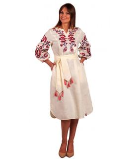 Вишитое льняное платье мод.5025