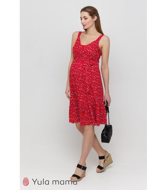 Сарафан Шанталь RE, красный сарафан в цветочек беременным и кормящим