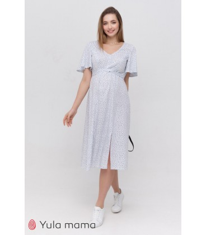 Платье Ванесса WH, белое платеь в горошек беременным и кормящим