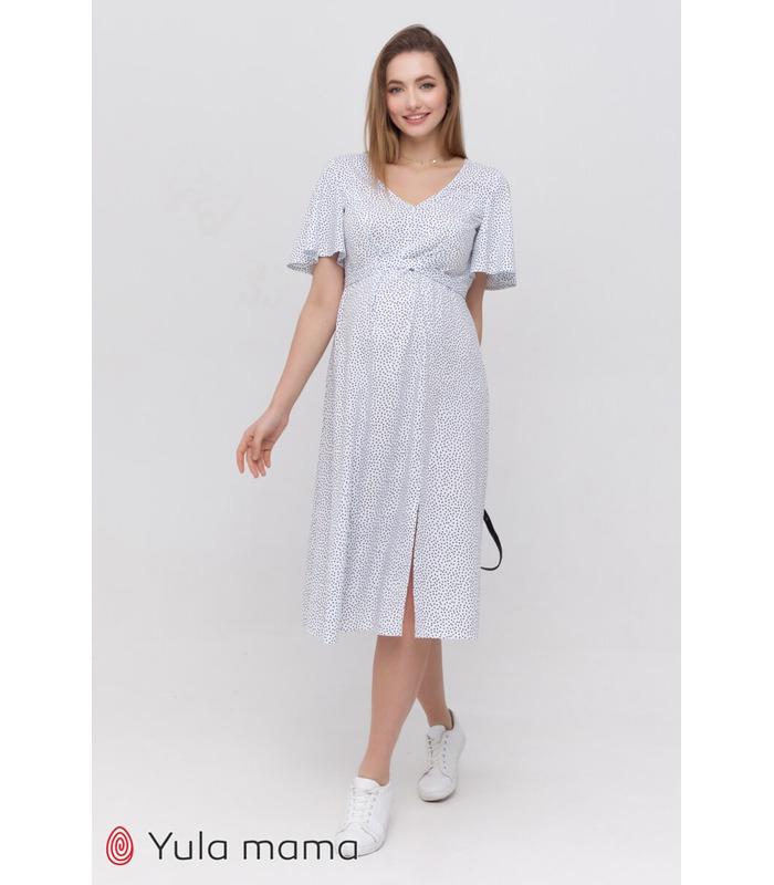 Сукня Ванесса WH, біле плаття у горошок вагітним та годуючим