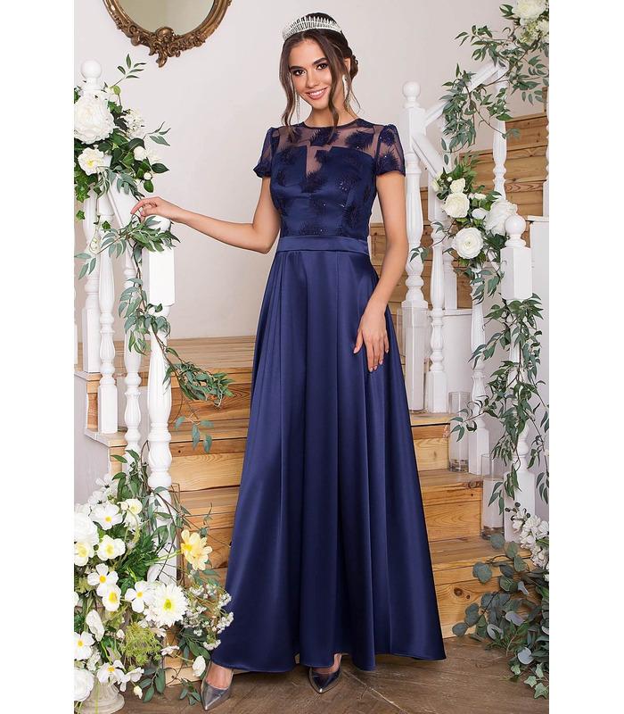 Платье Лорена TS, синее вечернее платье макси