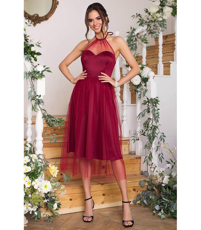 Платье Джена BR, бордовое пышное платье