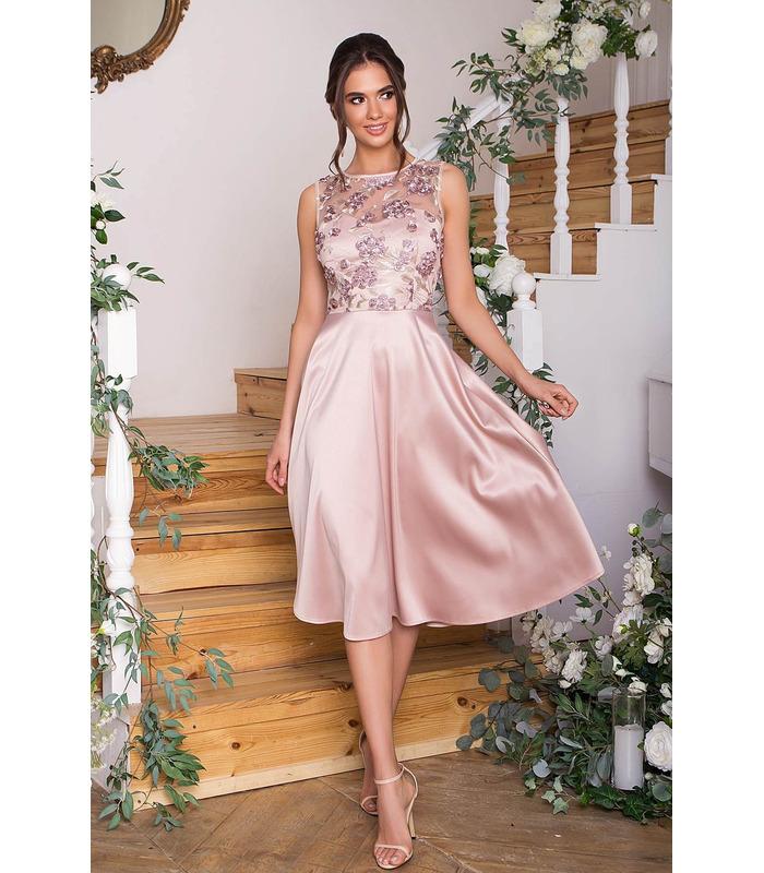 Платье Пайпер BG, бежевое выпускное платье миди