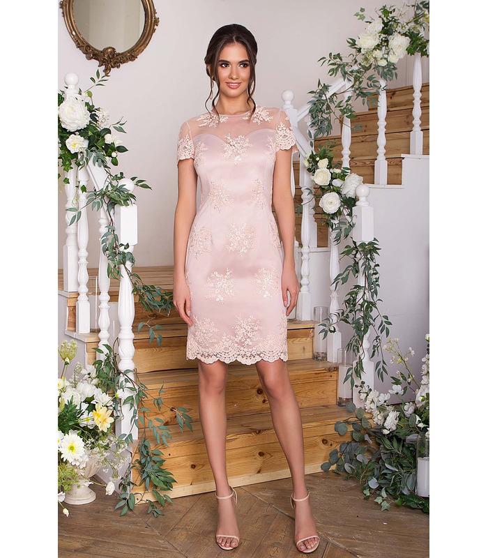 Платье Микея BG, бежевое короткое нарядное платье