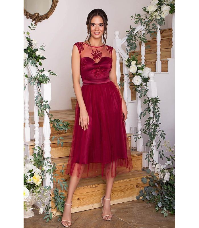 Платье Паиса BR, бордовое вечернее платье