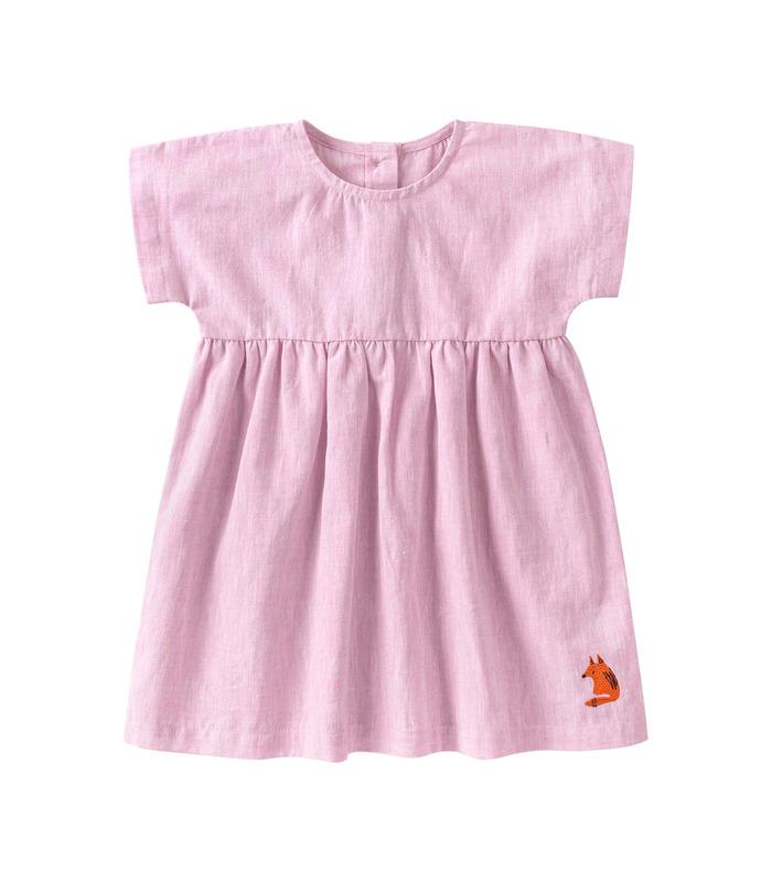 Платье детское ПЛ336 RO, розовое детское платье из льна
