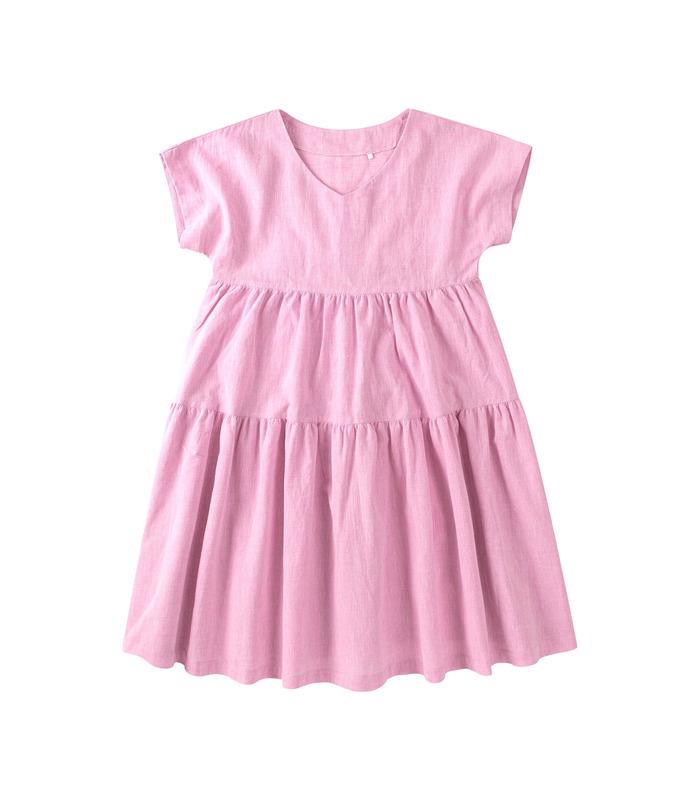 Платье детское ПЛ337 RO, розовое льняное платье для девочки