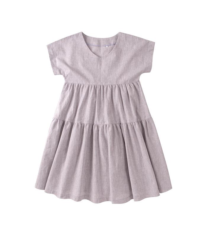 Платье детское ПЛ337 GR, серое льняное платье для девочки