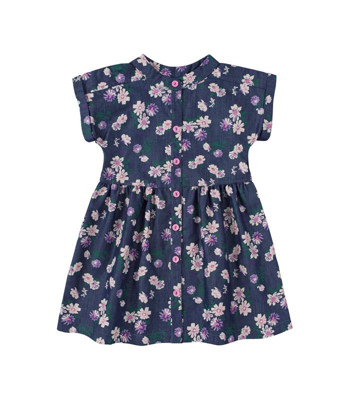 Платье детское ПЛ339, детское джинсовое платье в цветочек