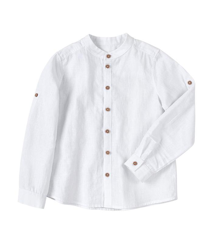 Рубашка детская РБ150 WH, детская белая рубашка из льна