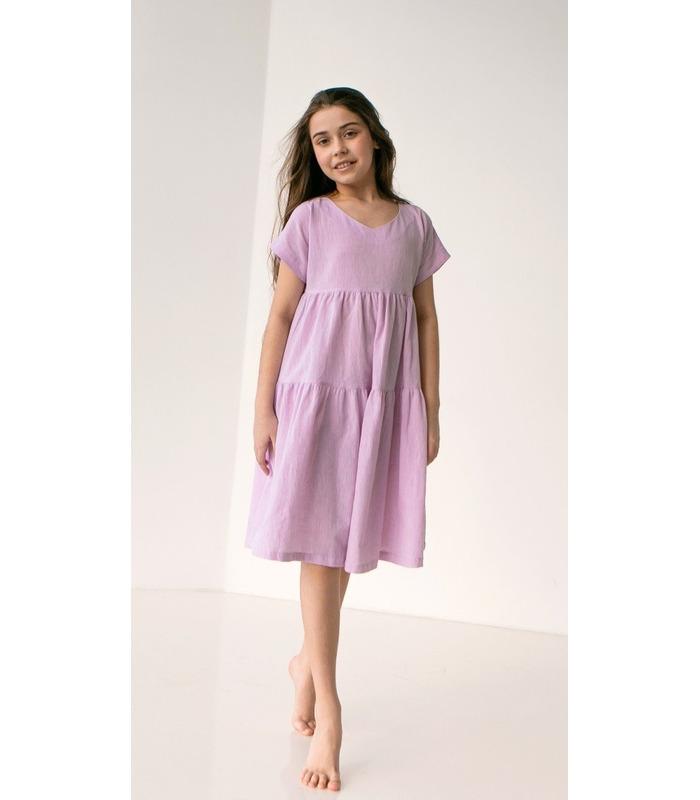 Платье детское ПЛ337 VI, сиреневое детское платье из льна