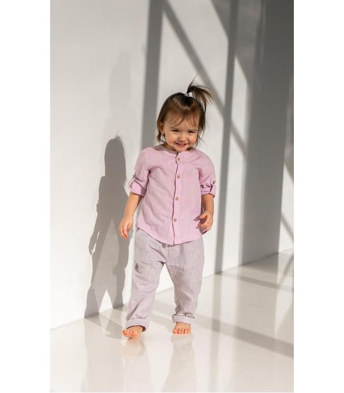 Сорочка дитяча РБ149 RO, рожева лляна дитяча сорочка