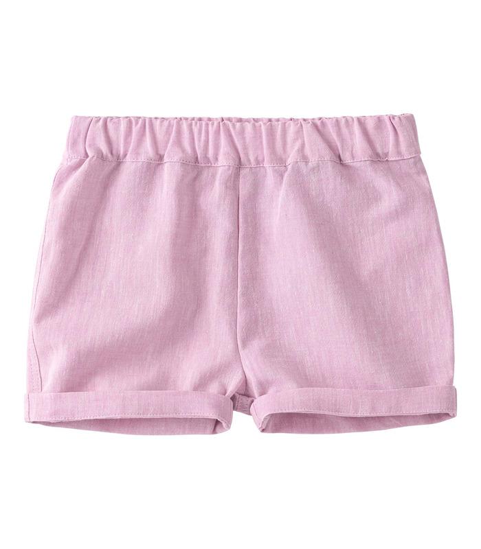 Шорты детские ШР707 RO, розовые детские шорты из льна
