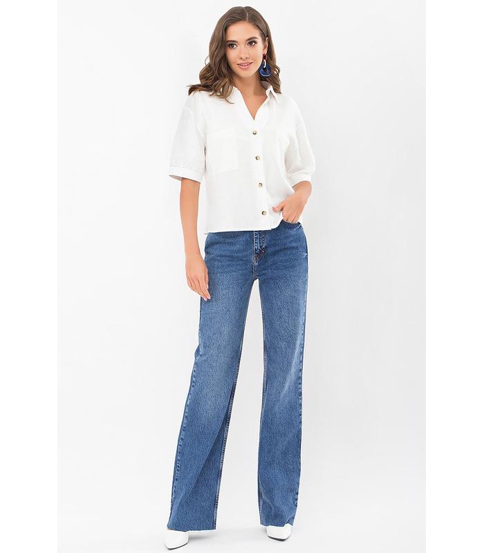 Блуза Илюза MI, льняная рубашка с коротким рукавом