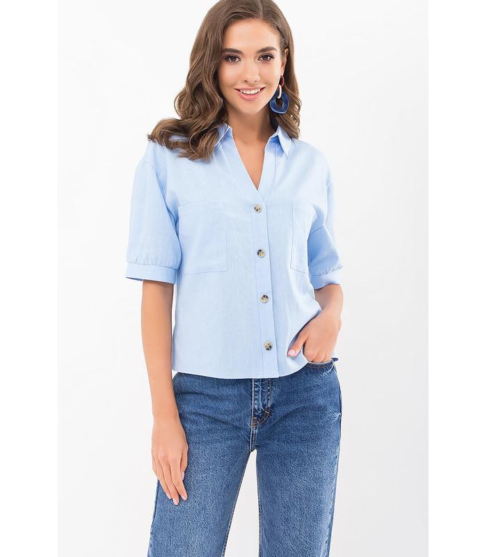 Блуза Илюза BB, голубая рубашка из льна