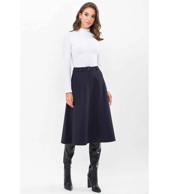 Юбка мод.46 трикотаж TS, синяя юбка из плотного трикотажа