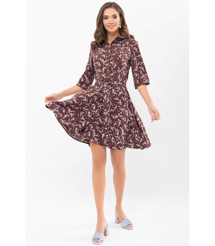 Сукня Асфарі BR, коричневе плаття у квіточку