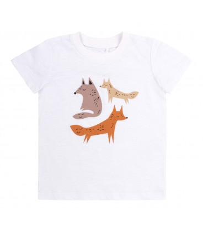 Футболка детсккая ФБ851 WH, детская белая футболка с лисичками