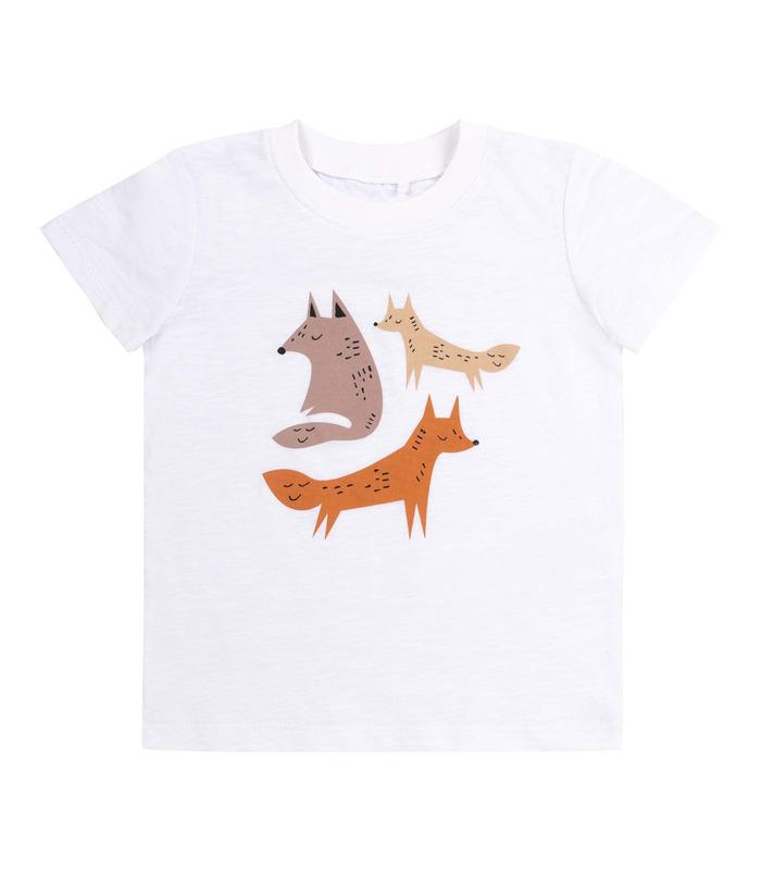 Футболка дитяча ФБ851 WH, дитяча біла футболка з лисичками