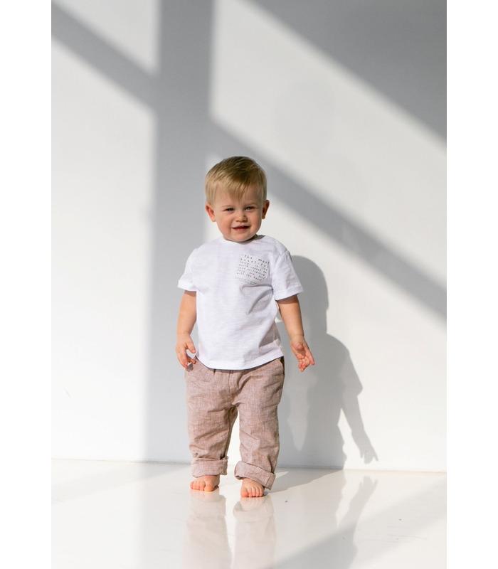 Штани дитячі ШР709 BG, дитячі літні бежеві штани з льону