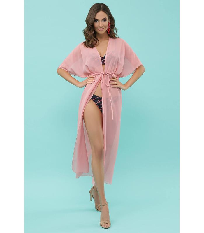 Пляжная туника №2-1 RO, розовая длинная пляжная туника