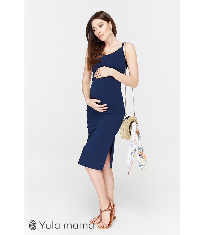 Сарафан Ніта TS, синій облягаючий сарафан вагітним та годуючим